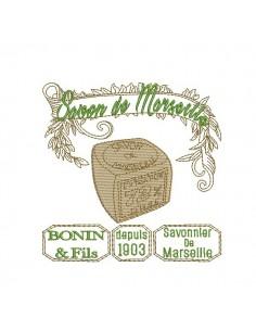 Motif de broderie machine savon de Marseille