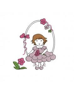 Motif de broderie machine fillette aux fleurs