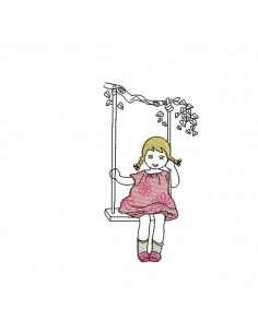 Instant download machine embroidery girl flower