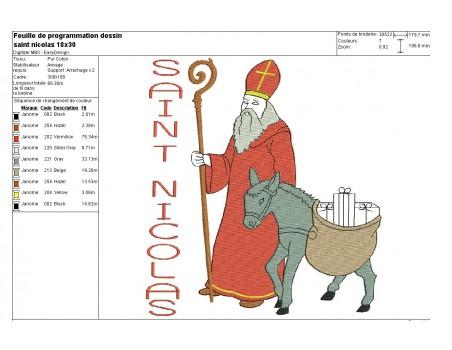 Motif de broderie machine  saint Nicolas