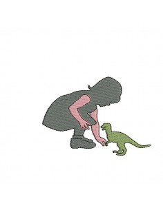 Instant download machine embroidery Girl playing with a dinosaur