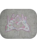 Instant download machine embroidery Hands forming a heart applique