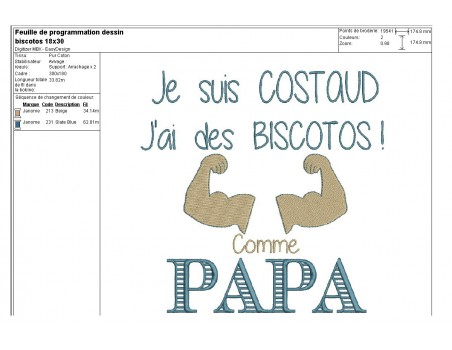 Motif de broderie machine texte humour biscotos
