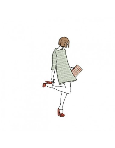 Motif de broderie machine femme robe courte