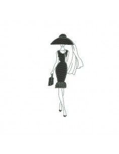 Instant download machine embroidery design Silhouette woman black  dress