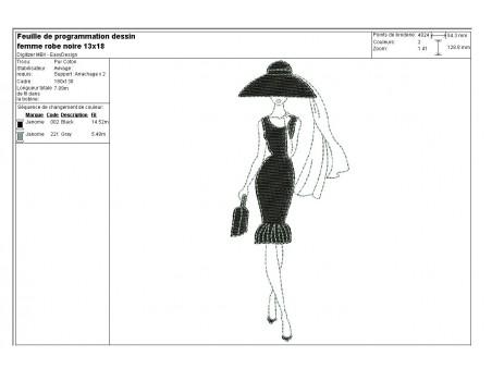 Motif de broderie machine silhouette femme robe noire