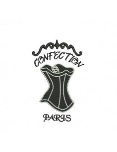 Motif de broderie machine bustier confection Paris