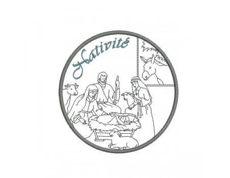 Motif de broderie machine Nativité