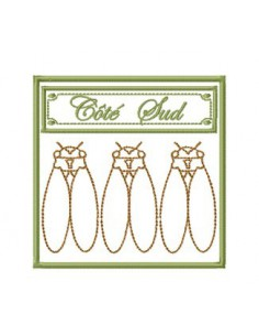 Côté sud trio de cigales 10x10 cm