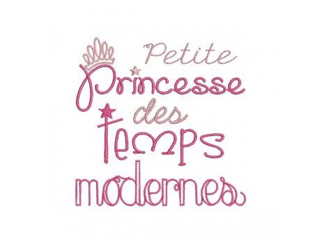 Motif de broderie machine texte humour petite princesse