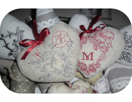 Instant download machine embroidery design Heart with roses