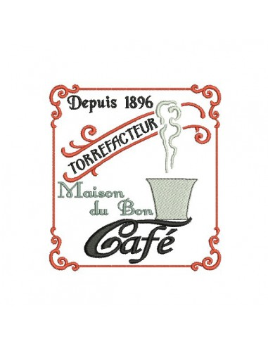 Instant download machine embroidery design coffee