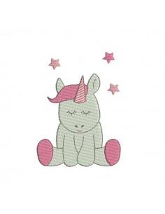 Instant download machine embroidery design Unicorn head applique
