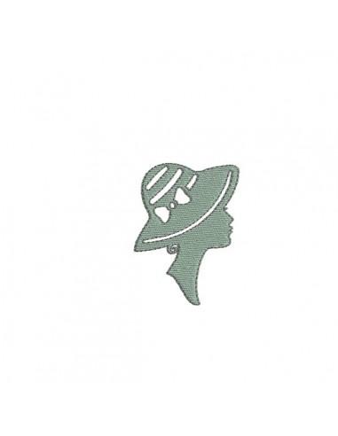 Motif de broderie machine camée femme au chapeau