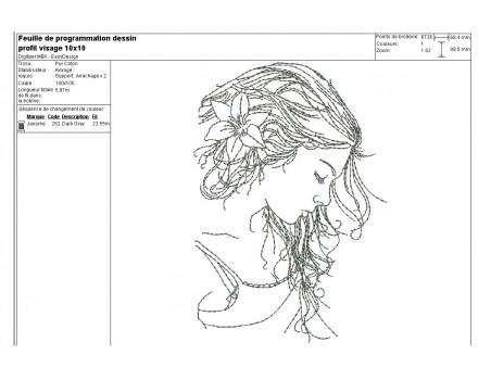 Motif de broderie machine profil visage femme