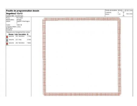 Motif de broderie machine  lingettes carrées en ITH