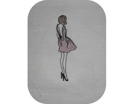 Motif de broderie machine silhouette femme robe dos nu