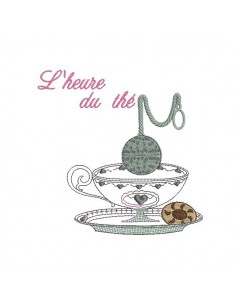 Motif de broderie machine l'heure du thé