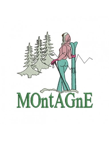 Instant download machine embroidery design Skier in the mountains