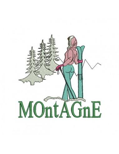 Motif de broderie machine skieuse  montagne