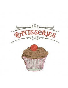 Instant download machine embroidery design cupcake