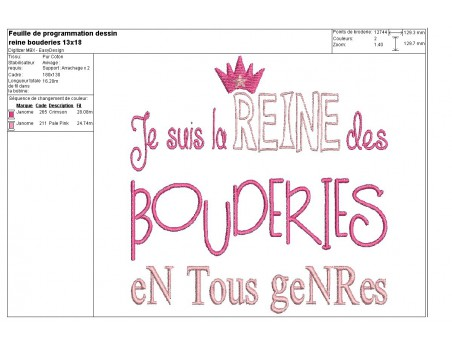 Instant download machine embroidery King of sulkiness