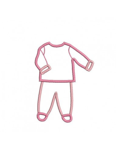 Motif de broderie machine pyjama 2 pièces