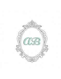 Embroidery design ovale frame amandine