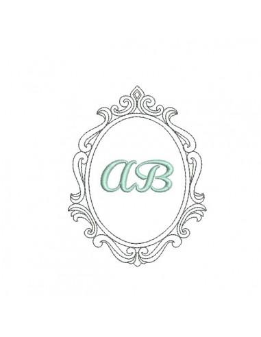 Embroidery design ovale frame amandine