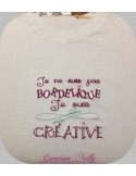 Motif de broderie machine texte humour créative