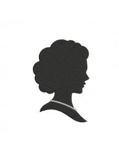 Motif de broderie machine camée femme au collier