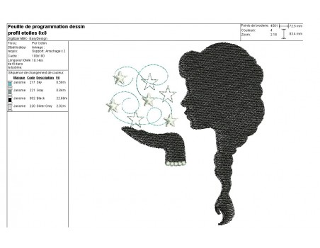 Instant download machine embroidery caméo woman