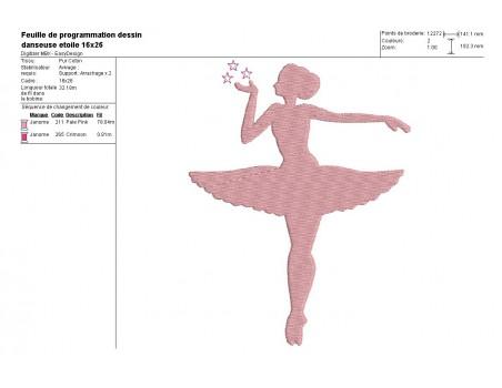 Motif de broderie machine silhouette danseuse