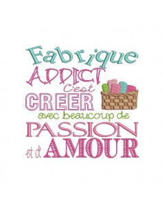Instant download machine embroidery Fabric addict