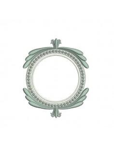 Embroidery design ovale frame  redwork amandine