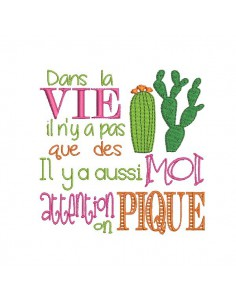 Motif de broderie machine texte humour cactus