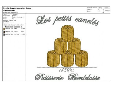 Motif de broderie les petits cannelés de Bordeaux