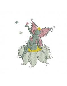 Motif de broderie machine fée assise sur fleur