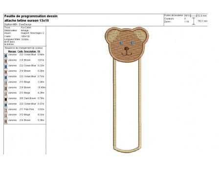 Motif de broderie machine attache tétine ou marque page ourson  ITH