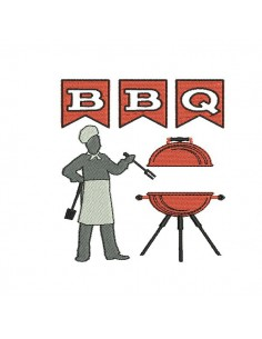 Instant download machine embroidery design Barbecue