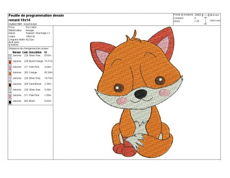 Instant download machine embroidery little fox