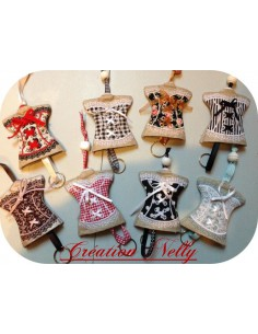 machine embroidery design  Bustier keychain ITH